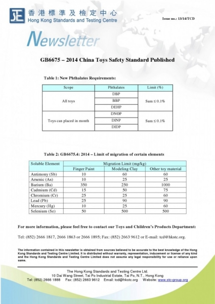 STC, GB6675 – 2014 China Toys Safety Standard Published,
