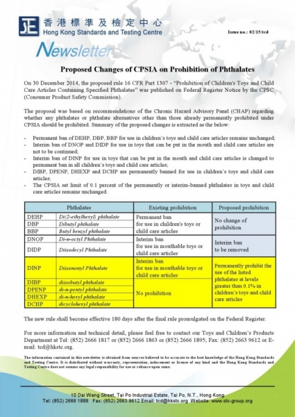 STC, Proposed Changes of CPSIA on Prohibition of Phthalates,