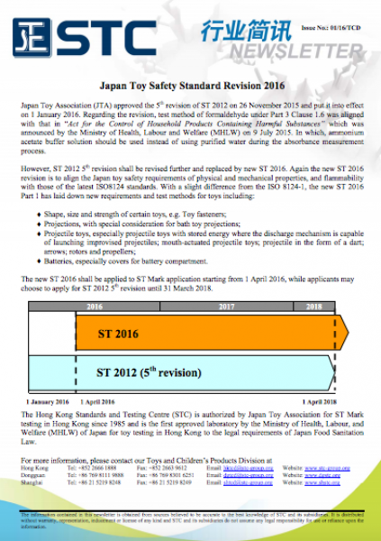STC, Japan Toy Safety Standard Revision 2016,