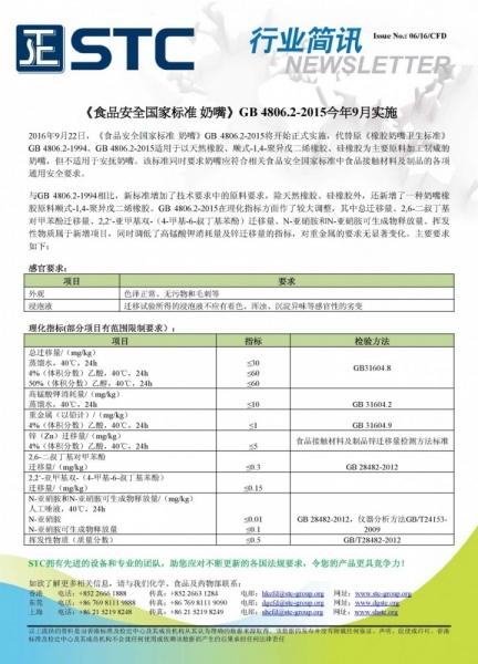 STC, 《食品安全国家标准 奶嘴》GB 4806.2-2015今年9月实施,