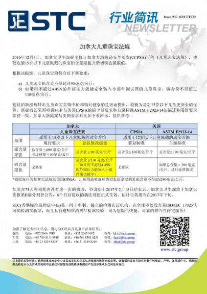 STC, 加拿大儿童珠宝法规, , Canada Consumer Product Safety Act, CCPSA, ASTM F2923-14,