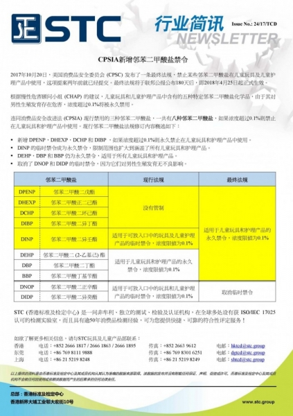 STC, CPSIA新增邻苯二甲酸盐禁令,