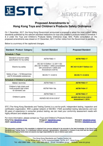STC, Proposed Amendments to Hong Kong Toys and Children's Products Safety Ordinance,