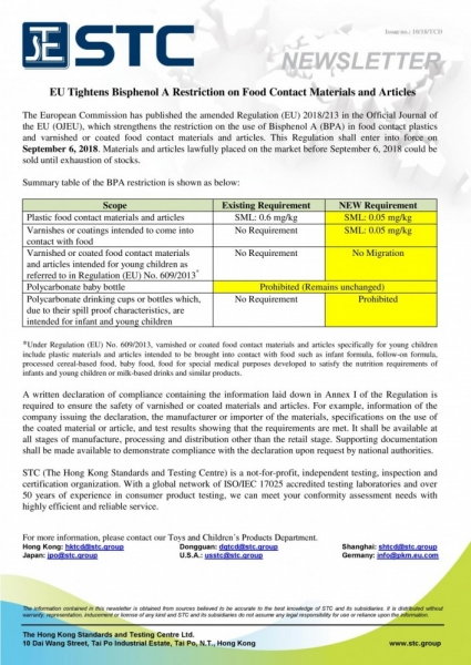 2018_10 EU Tightens Bisphenol A Restriction in Food Contact Materials and Articles.jpg