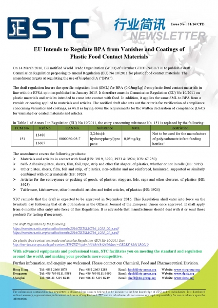 STC, EU Intends to Regulate BPA from Vanishes and Coatings of Plastic Food Contact Materials,
